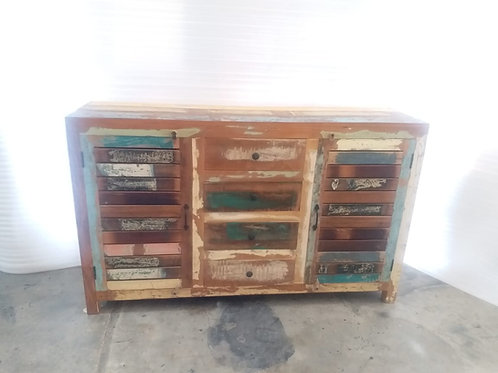 Indian Reclaimed Wood Two Shutter Doors & Four Drawer Sideboard (MDA-23A)