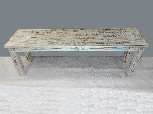 Indian Reclaimed White Wash Bench (MDA-135W)