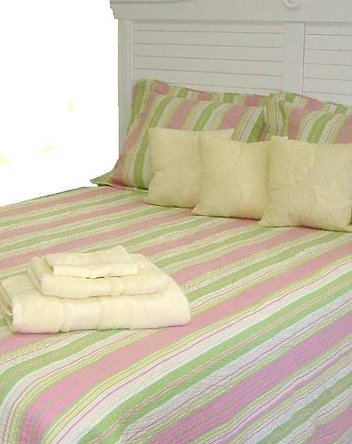 Pink & Green Stripe Coverlet