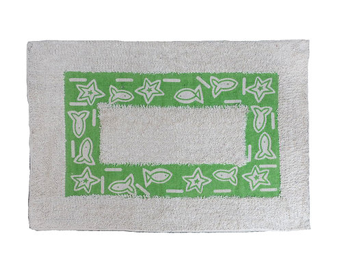 Green and Beige New Wave Fish & Stars Bordered Bath or Kitchen Rug
