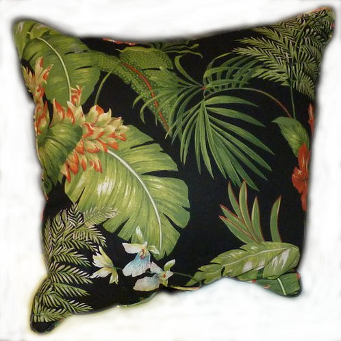 Black Tropical Pillow