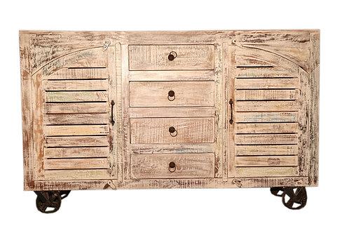 Indian Reclaimed Tan Wood Finish Cabinet on Wheels (MDA-80T)