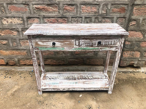 Indian Reclaimed Whitewash Wood Two Door Console Table (MDA-07W)