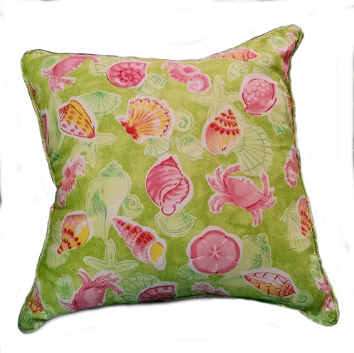 Pink & Green Sealife Throw Pillow