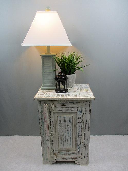 Whitewash Reclaimed Wood Bed Side Table (MDA-142W)
