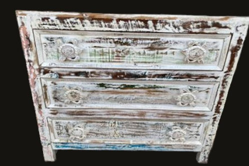 White Wash Reclaimed Wood Turtle Three Drawer Chest (MDA-SC-01)