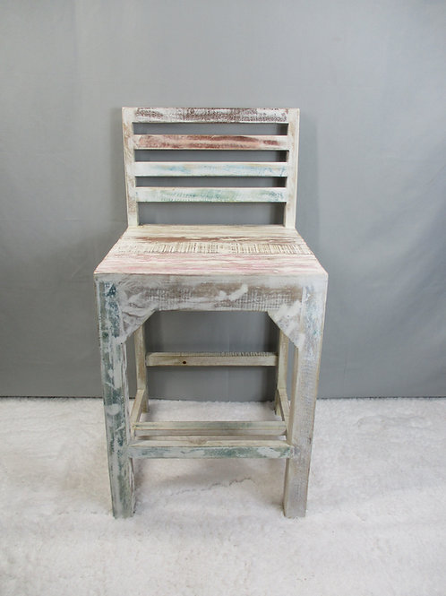 White Wash Reclaimed Wood Counter Stool (MDA-781C)