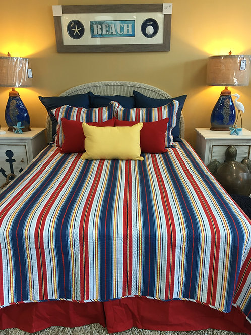 Dark Red & Blue Stripe Quilt Set