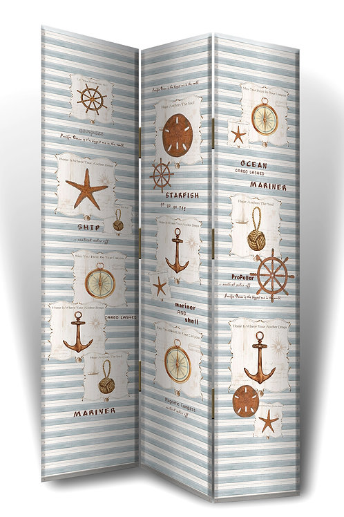 Nautical Blue Stripe Room Divider