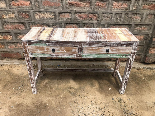 Indian Reclaimed Wood Whitewash Finish Large Two Door Console Table (MDA-08W)