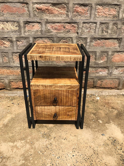 Indian Reclaimed Wood & Iron Frame Side Table