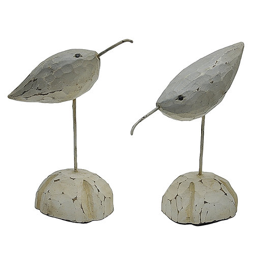 Pair of White Distressed Bird Carving on Wooden Base