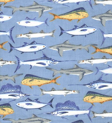 Sports Fish Blue Marlins & Yellow Tuna Fabric