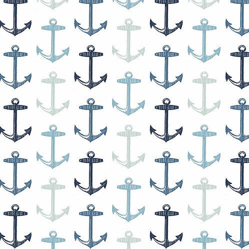 Blue & Navy Anchors on White Pillow