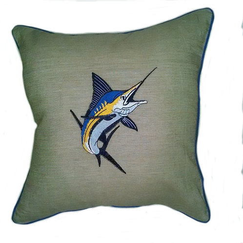 Marlin Embroidered Pillow Cover