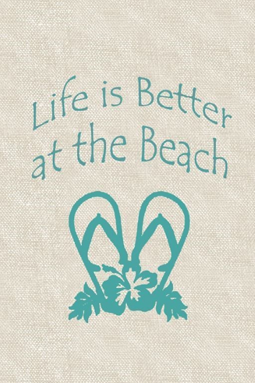 """Life is Better at the Beach"" Green Indoor Rug"