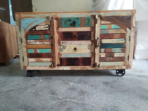 Indian Reclaimed Wood Cabinet on Wheels