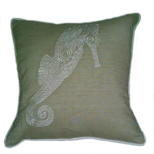 Seahorse Embroidered Pillow Cover