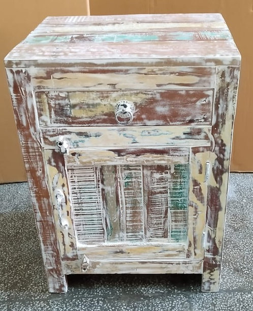 Indian Reclaimed Whitewash Finish Wood Bed Side Table