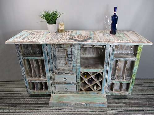 Reclaimed Whitewash Finish Wood Bar Cabinet and Space Saver (MDA-143AW)