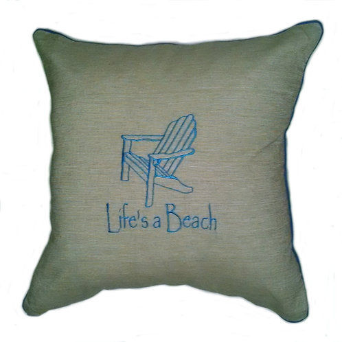 Life is a Beach Embroidered Pillow Cover