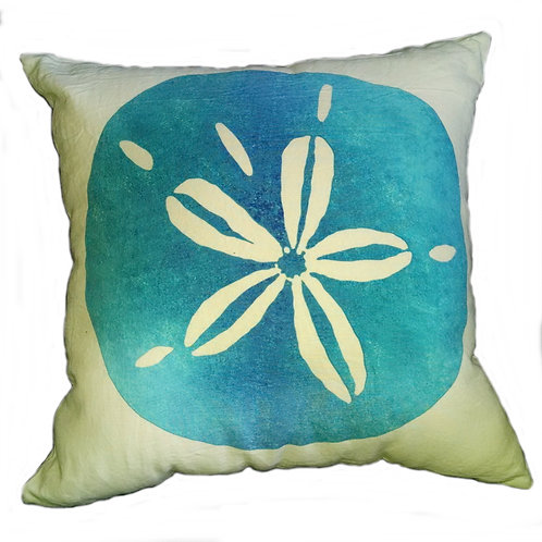 Turquoise Sand Dollar Pillow Cover