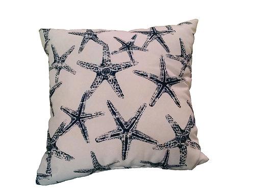 Navy Starfish on White Pillow