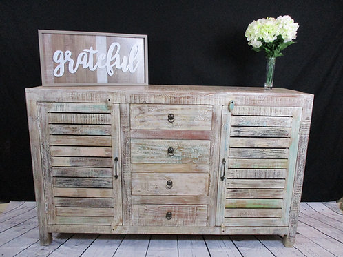 Indian Reclaimed Wood Two ShutterDoor &Four Drawer Sideboard Chest (MDA-23AW)