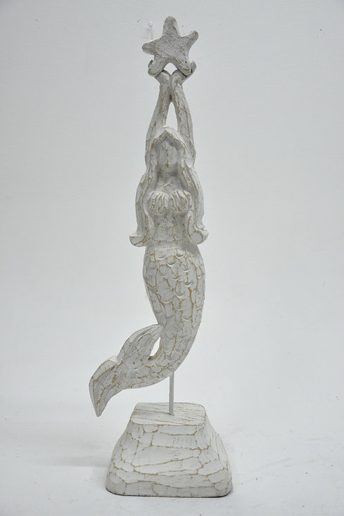 Wooden Mermaid with Star Table Top Decor
