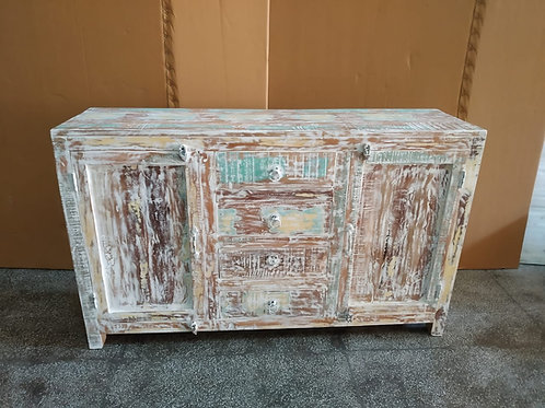 Whitewash Reclaimed Wood Side Board Chest