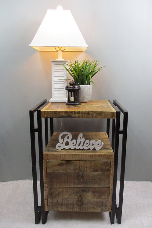 Indian Reclaimed Wood & Iron Frame Side Table (MDA-118)