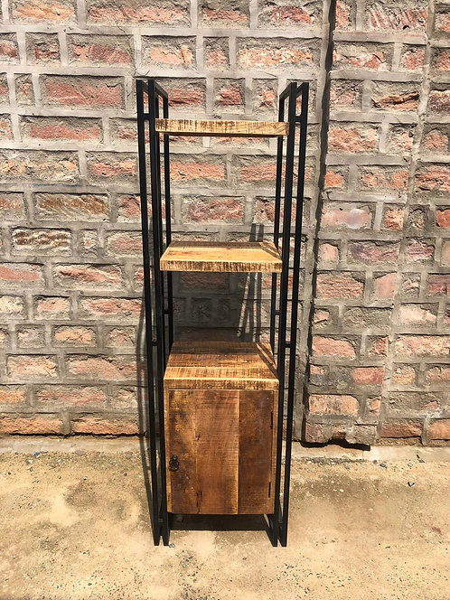 Indian  Reclaimed Wood & Iron Frame Bookshelf