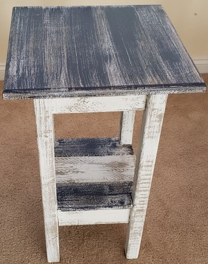 Distressed Wood Small Square End Table