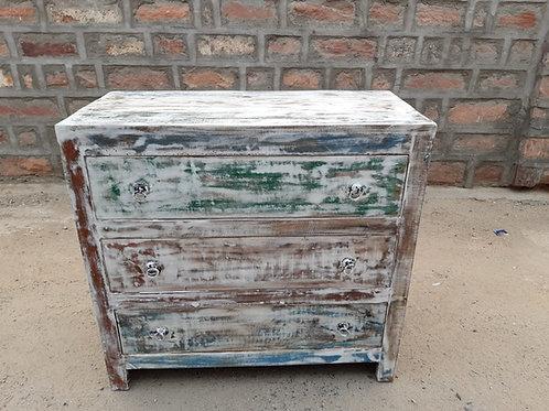 Whitewash Finish Reclaimed Wood Three Drawer Chest