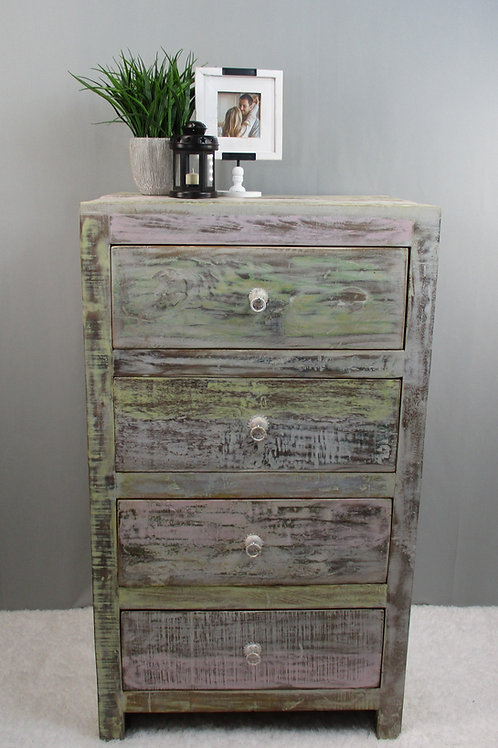 Indian Reclaimed Whitewash Finish Wood Four Drawer Chest (MDA-26W)