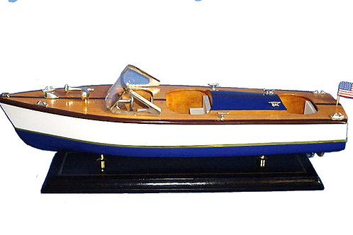 Blue & White Powerboat