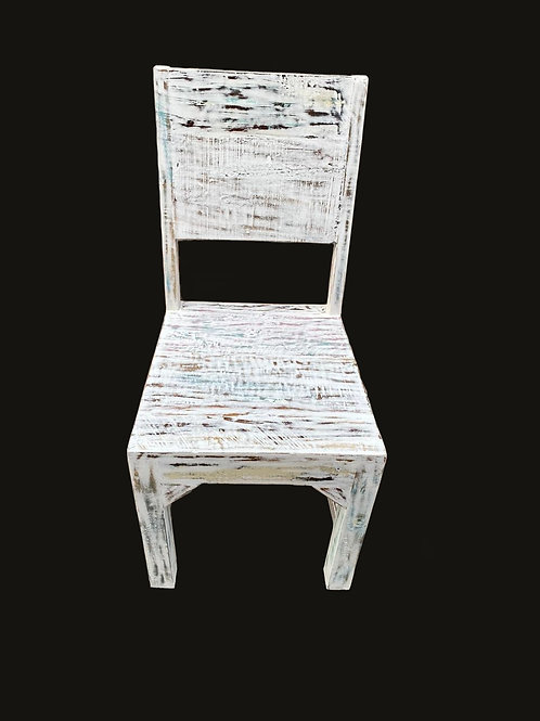Indian Reclaimed White Wash Wood Dining Room Chairs (MDA-138W)
