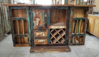 Indian Reclaimed Wood Bar Cabinet