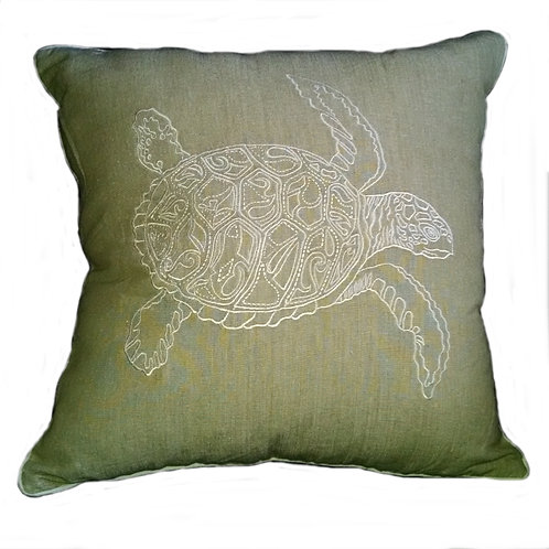 Turtle Embroidered Throw Pillow