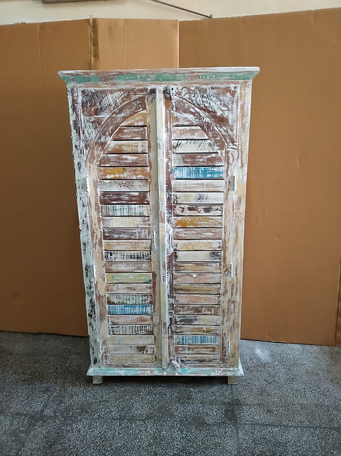 White Wash Reclaimed Wood Tall Chest