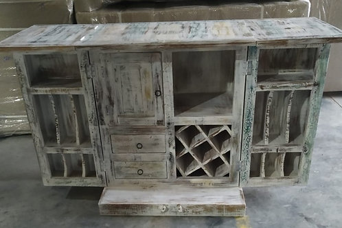 Reclaimed Whitewash Finish Wood Bar Cabinet and Space Saver