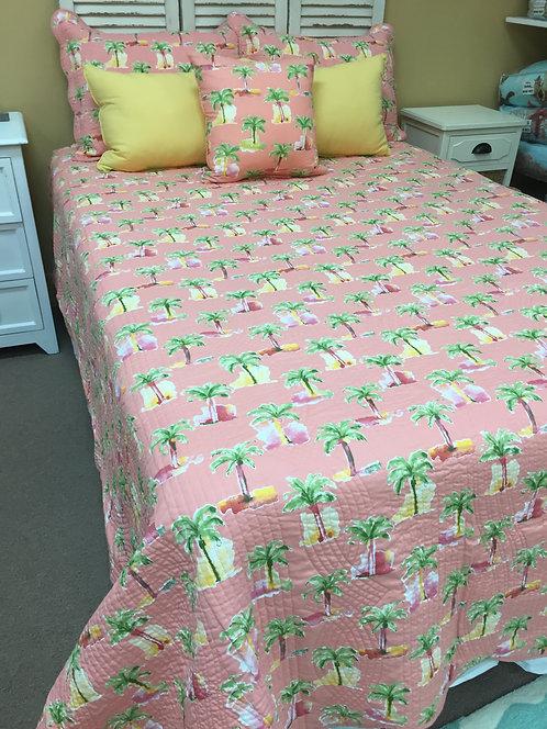 Modern Palm Coral Quilt Set
