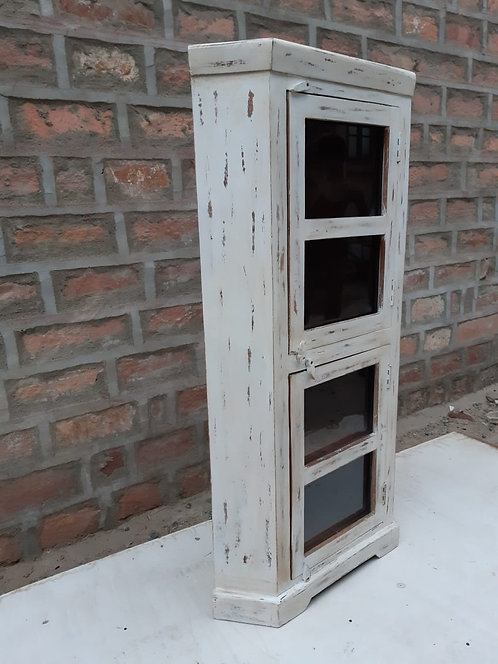 Mango Whitewash Wood Corner Tall Unit with Glass Doors