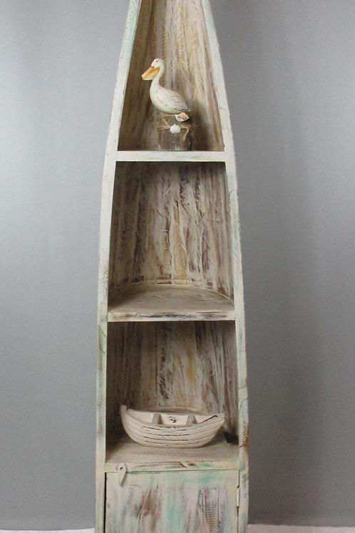Indian Reclaimed Whitewash Wood Boat Bookshelf (MDA-20-128C)