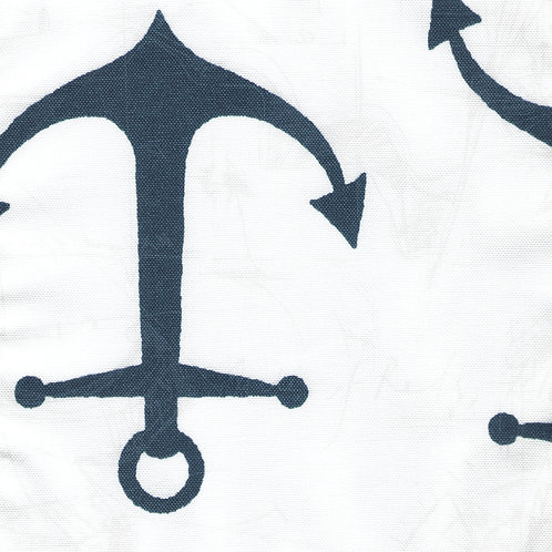 Navy Anchors on White Cushion