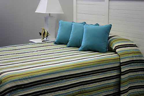 Brown/Blue Stripe Bedspread