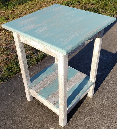 Distressed Wood Square End Table