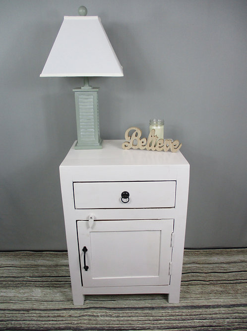 Pure White Wood Side Table (MDA-25PW)