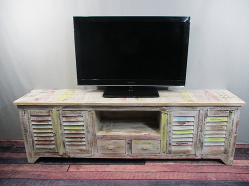 Large Entertainment Stand with Extra Storage in Whitewash Finish (MDA-20-112C)