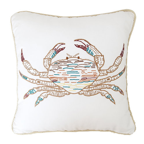 """Multi Colored Crab 18"""" Embroidered Throw Pillow by C & F"""